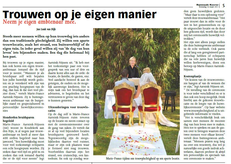 20110316 Artikel Rijnwoude Koerier Trouwen Op Je Eigen Manier