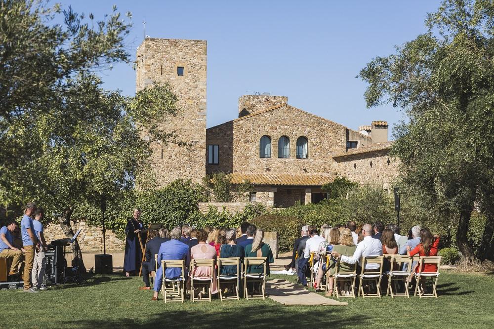 Wedding ceremony in castle garden
